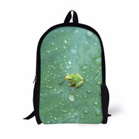 FORUDESIGNS Frog Printing School Bags for Girls Boys,Casual Kids Customize Bookbag,Children School Bag Student 16 Inch Book Bag