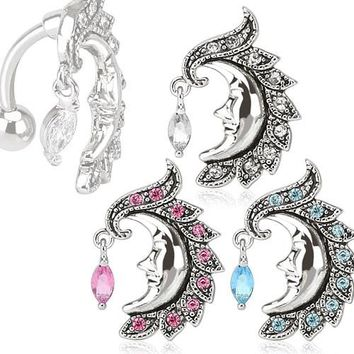 Crescent Moon Face Belly Ring