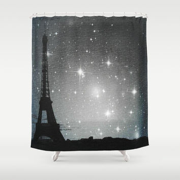 Starry Night in Paris. Eiffel Tower . Shower Curtain, modern, home, bathroom, nature, fine art, photography, inspirational, night sky,dreamy