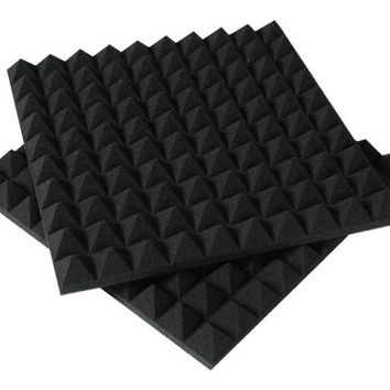 [ Fly Eagle ] Black Soundproofing Acoustic Foam Sound Treatment Absorption Wedge 12Pcs 50cm X 50cm X 5cm