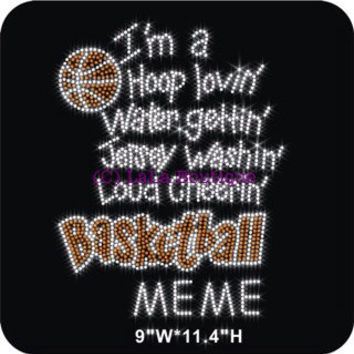 Basketball MEME iron on rhinestone transfer - DIY heat transfer school team shirts tees for moms and kids
