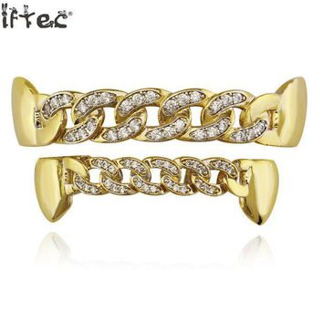 ac PEAPO2Q Iftec Pure Gold Color Plated Fang Teeth Grillz Micro Pave Cz Stones Exclusive Luxury Top & Bottom Hip Hop Chain Gold Grills