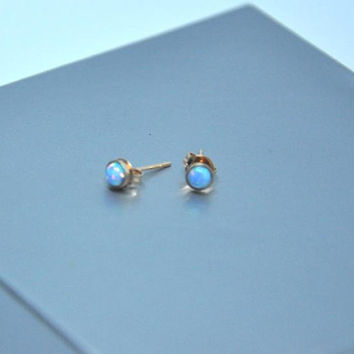 Rose Gold Earrings,  Opal Earrings,  Gold Stud Earrings,  Blue Opal,  White Opal,  Opal Earrings,  Opal Jewelry