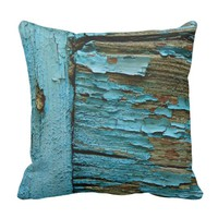 Blue wood pillow. throw pillow