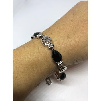 Vintage Hand Made 925% Sterling Silver Crystal Filligree Black Jet Faceted Onyx Bracelet