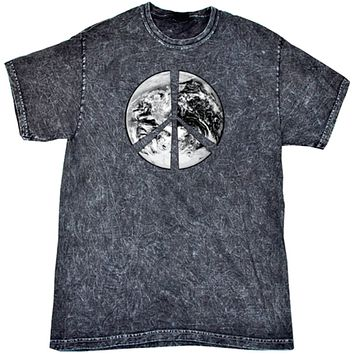 Peace T-shirt Earth Satellite Symbol Mineral Washed Tie Dye Tee