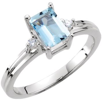 Ben Garelick Emerald Cut Aquamarine Diamond Three Stone Ring