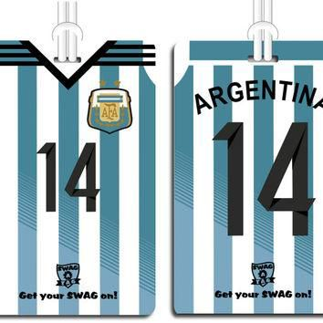 "SwagTagz ""ARGENTINA FIFA World Cup 2014"" Jersey Soccer Tag for Bags and Backpacks"
