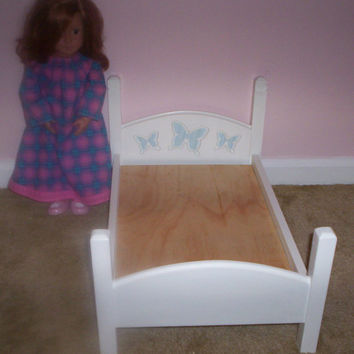Handcrafted doll bed made for 18 in American Girl size doll white with blue butterflies