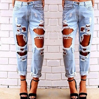 Sexy Womens Ripped Boyfriend Hole Jeans Trousers Casual Loose Retro Denim Pants = 4823987012