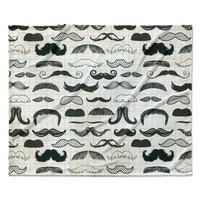 "Heidi Jennings ""Stached"" Gray Black Fleece Throw Blanket"