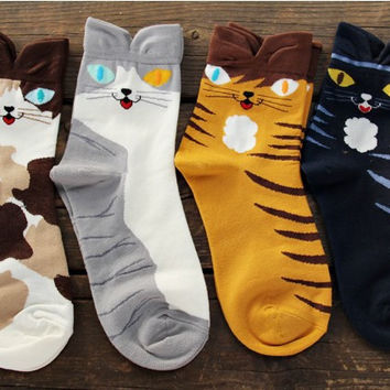 4 pairs/lot 2014 Hot New Womens Girls Cartoon Style animals Cute cat Cotton Socks