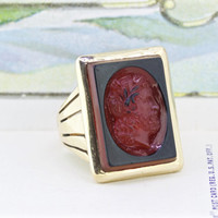 Victorian Ring   Antique Statement Ring   Unique Cocktail Ring   10k Yellow Gold Ring   Mens Intaglio Ring   Geometric Ring   Size 8.75