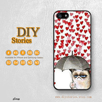 Cats, iPhone 5 case, iPhone 5C Case, iPhone 5S case, Heart Love, iPhone 4S Case, Samsung S3 S4 S5, Note 2 3, Phone Cases, 5C0249