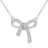 """Sterling Silver Diamond Bow Pendant Necklace (1/10 cttw, H-I Color, I2-I3 Clarity), 17"""""""
