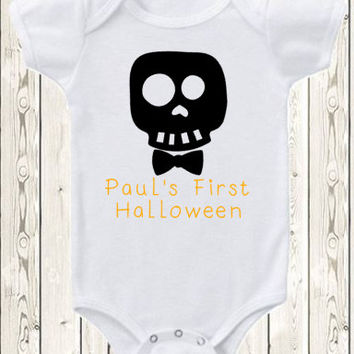 Personalized First Halloween Onesuit with BOY and GIRL options / Custom Onesuit Skull Onesuit / Baby Happy Halloween Onesuit/ Halloween costume
