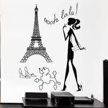 Wall Stickers Hot Sexy Woman Paris France Europe Art Mural Vinyl
