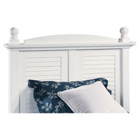 Twin Size Panel Slat Wood Headboard in Distressed Antique White
