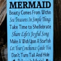 Advice From A Mermaid Wood Sign, Mermaids, Beach Decor, Girls Gift Idea, Mermaid Poem Quote, Mermaid Decor, Beach Bathroom