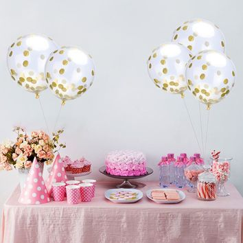 10pcs/lot Colorful Confetti Balloon Clear Balloon Wedding Festival Birthday Party Decoration Supplies 12inch