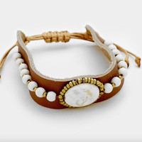Wide Leather Bracelet + Howlite - White