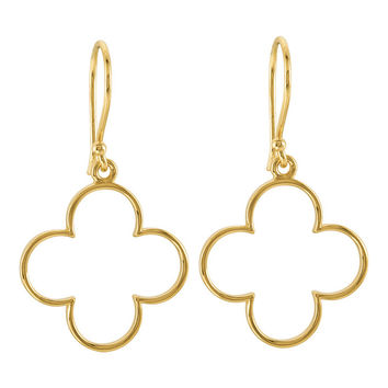 14K Yellow Gold Quatrefoil Dangle Hook Earrings, 30mm x 17mm