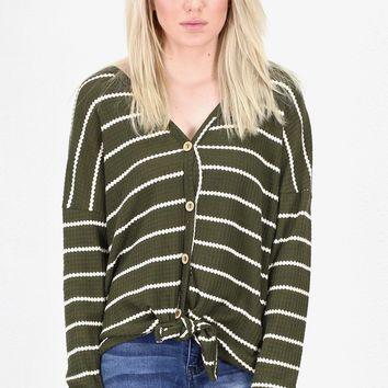 Must Have Striped Thermal Button +Tie Front L/S {Olive}