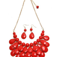 In Style Triple Layer Year Drop Bead Red Necklace/Earring set
