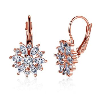 Rose Gold / White Gold / Champagne Plated Flower CZ Hoop Earrings