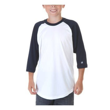 Augusta-Baseball Jersey Raglan 3/4 sleeves~White/Navy~Youth-MD
