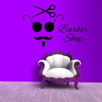 Wall Decals Barber Shop Vinyl Decal Sticker Beauty Salon Design Interior Hairdressing Salon Model Hair Scissors Sunglasses Art Decor KT165