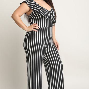 Striped Asymmetrical Ruffle Shoulder Palazzo Jumpsuit