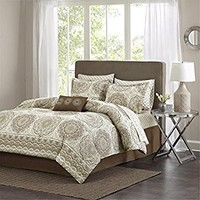 Madison Park MPE10-152 Essentials Serenity Complete Bed & Sheet Set Queen Taupe,Queen
