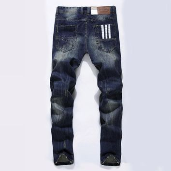 Famous Brand Fashion Designer Jeans Men Straight Dark Blue Color Printed Mens Jeans
