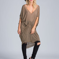 Gather Up Airy High-Low Dress