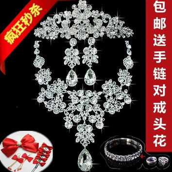 Fashion accessory Bride jewelry set of three super flash diamond tiara Necklace Korean marriage suit dress accessories (Color: Silver)