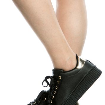 Black Gold Faux Leather Flatform Creepers @ Cicihot Women Sneakers-Fashion Sneakers,Casual Sneakers,Wedge Sneakers,Platform Sneakers,Hidden Wedge Sneakers,High Top Sneakers,Lace Up Sneakers,Studded Sneakers,Buckle Sneakers