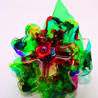 Rainbow Flower Hairclip inspired by Chihuly, Brooch, Barrette, Ornament, Recycled Plastic Bottle