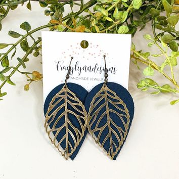 Metal Leaf Leather Earrings