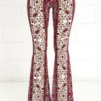Floral Festival Burgundy and Yellow Floral Print Flare Pants