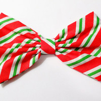 Candy Cane Bow Gifts for her Green Candy cane Stripes Bow Clip Red Christmas Bow White Christmas Hair Clip Gifts for girls Gifts under 10