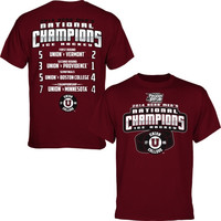 Union College Dutchmen 2014 NCAA Men's Ice Hockey National Champions Score T-Shirt - Garnet