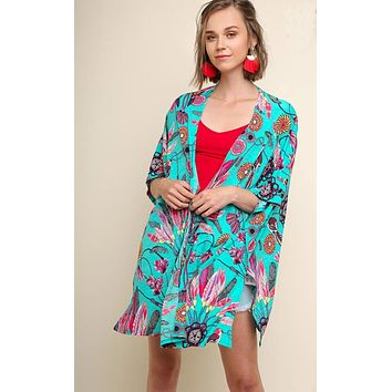 Monique Feather and Bird Print Kimono