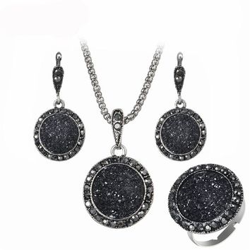 Romad 3 Pcs/Set  Vintage Black Women Jewelry Set Fashion Antique Crystal Round Stone Pendant Necklace Earrings Sets For Women R5