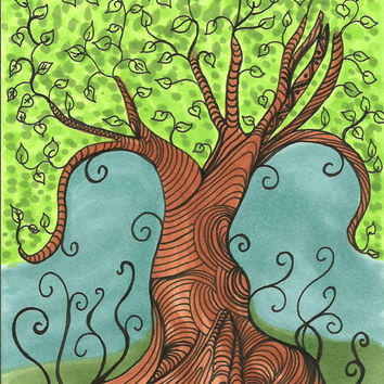 Tangled Tree Illustration with Copic Marker Ink 4 x 6 inches Original SFA art