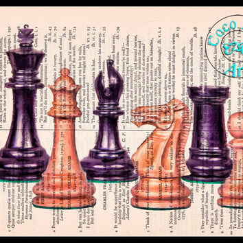 Chess Set Cezanne Style Art Beautifully Upcycled Vintage Dictionary Page Book Art Print