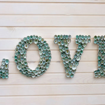 Beach Decor Seashell Covered Sign Letters - LOVE or Any 4-Lettered Word
