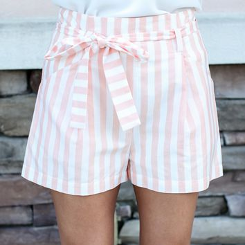 Stripe It By Shorts - Coral