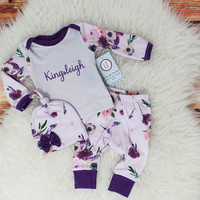 Newborn girl coming home outfit/  Baby girl coming home outfit/  Baby girl clothes/  Plum floral + gray pinstripes/  Baby shower gift