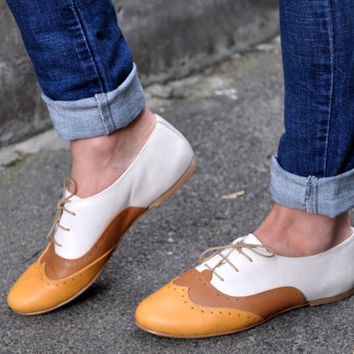 Venice - Women Oxfords, Brown Leather Shoes, Custom Shoes, Summer Shoes, FREE shipping & customization.